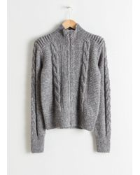 & Other Stories - Zip Up Cable Knit Cardigan - Lyst