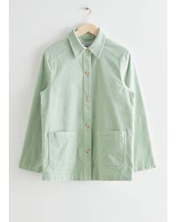 & Other Stories Relaxed Patch Pocket Corduroy Jacket - Green