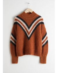 & Other Stories Mock Neck Varsity Stripe Jumper - Natural