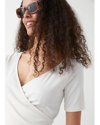 & Other Stories Ribbed Wrap Top - White