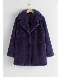 & Other Stories Short Faux Fur Coat - Purple