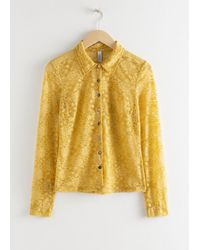 & Other Stories Sheer Floral Lace Blouse - Yellow