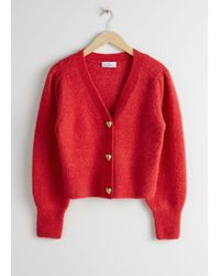 & Other Stories Playful Button Knit Cardigan - Red