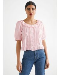 & Other Stories Buttoned Ruffle Lace Blouse - Pink