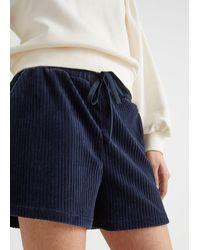 & Other Stories Cord-Shorts Mit Kordelzug - Blau