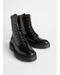 & Other Stories Chunky Platform Leather Boots - Black