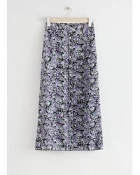 & Other Stories Floral Button Up Midi Skirt - Purple