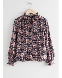 & Other Stories Button Up Ruffle Blouse - Multicolour