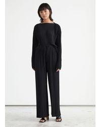 & Other Stories Relaxed Plissé Drawstring Pants - Black