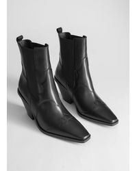 & Other Stories Square Toe Leather Cowboy Boots - Black