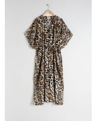 & Other Stories Leopard Print Cotton Kaftan - White