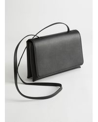 & Other Stories Flap Closure Leather Crossbody Bag - Black