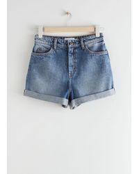 & Other Stories Rolled Hem Denim Shorts - Blue
