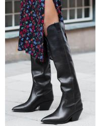 & Other Stories Knee High Cowboy Boots - Black