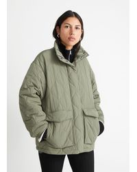 & Other Stories Quilted Zip Jacket - Green