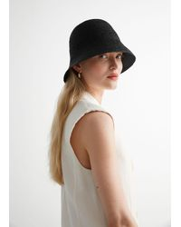& Other Stories Straw Bucket Hat - Black