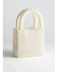 & Other Stories Pearlescent Beaded Clutch Bag - White