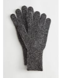 & Other Stories Mohair Wool Blend Gloves - Grey