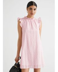 & Other Stories - Frilled Broderie Anglaise Mini Dress - Lyst