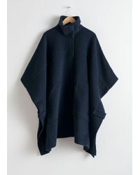 & Other Stories Wool Blend Workwear Cape - Blue