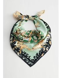 & Other Stories Tropical Print Satin Scarf - Green