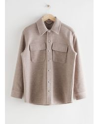& Other Stories Oversized Wool Blend Workwear Shirt - Brown
