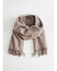 & Other Stories Fringed Wool Blanket Scarf - Brown