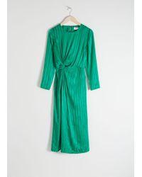 & Other Stories - Striped Twist Knot Midi Dress - Lyst