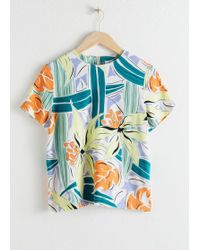 & Other Stories Short Sleeve Tropical Print Top - White
