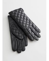 & Other Stories Quilted Leather Gloves - Black