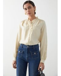 & Other Stories Button Up Ruffle Blouse - Yellow