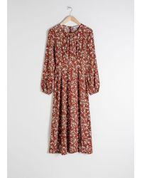 & Other Stories Floral Long Sleeve Midi Dress - Orange