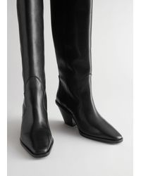 & Other Stories Knee High Leather Cowboy Boots - Black