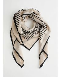 & Other Stories Striped Light Wool Scarf - Black