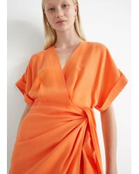 & Other Stories Relaxed Wrap Mini Dress - Orange
