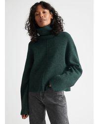 & Other Stories Cropped Turtleneck Knit Jumper - Grey