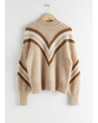 & Other Stories Mock Neck Varsity Stripe Sweater - Natural