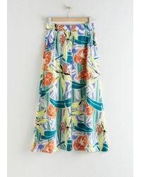 & Other Stories Front Slit A-line Midi Skirt - White