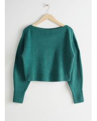 & Other Stories Boatneck Knit Sweater - Green