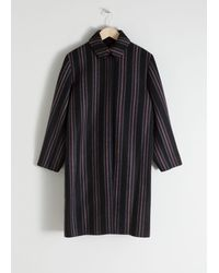 & Other Stories Wool Blend Striped Coat - Black