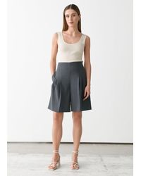 & Other Stories Pleated High Waist Wool Shorts - Gray