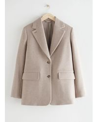 & Other Stories Oversized Wool Blazer - Natural