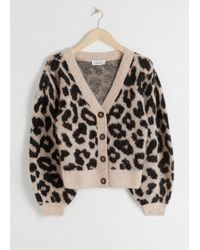 & Other Stories Leopard Puff Sleeve Wool Blend Cardigan - Black