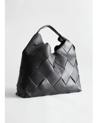 & Other Stories Braided Leather Tote Bag - Black
