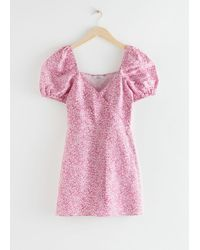 & Other Stories Fitted Puff Sleeve Mini Dress - Pink