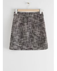 & Other Stories Tailored High Waisted Tweed Mini Skirt - Black