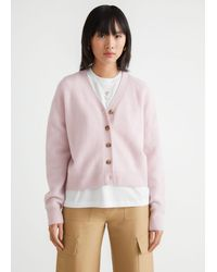 & Other Stories Wool Blend Knit Cardigan - Pink
