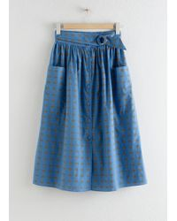 & Other Stories A-line Cotton Midi Skirt - Blue