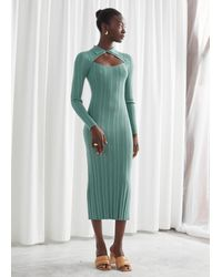 & Other Stories Fitted Cut Out Midi Rib Dress - Green