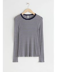 & Other Stories Striped Long Sleeve Top - Blue
